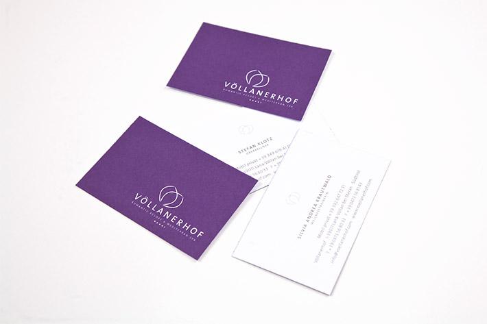 Visitenkarte im Format 8,5 x 5,5 cm, zweiseitig