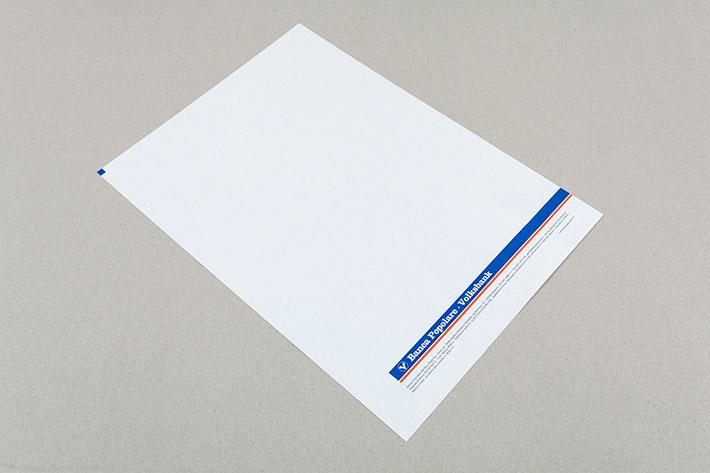 Briefpapier im Format A4 der Volksbank